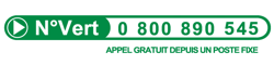 N° vert : 0 800 890 545 (appel gratuit depuis un poste fixe)